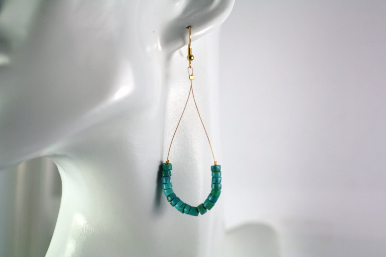 Gold Tone Teardrop Shape Turquoise Heishi Beaded  Earrings     Handcrafted Jewelry