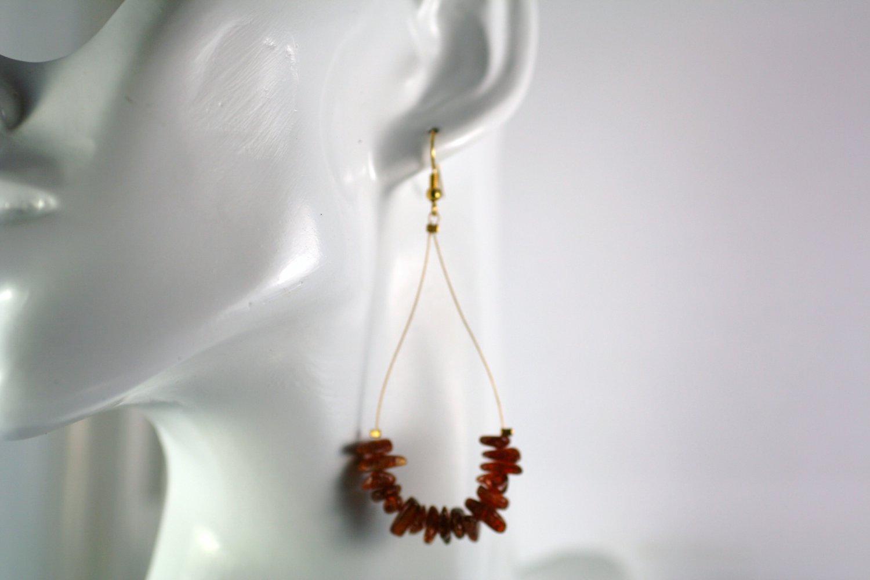 Gold Tone Teardrop Shape Baltic Amber Beaded  Earrings     Handcrafted Jewelry
