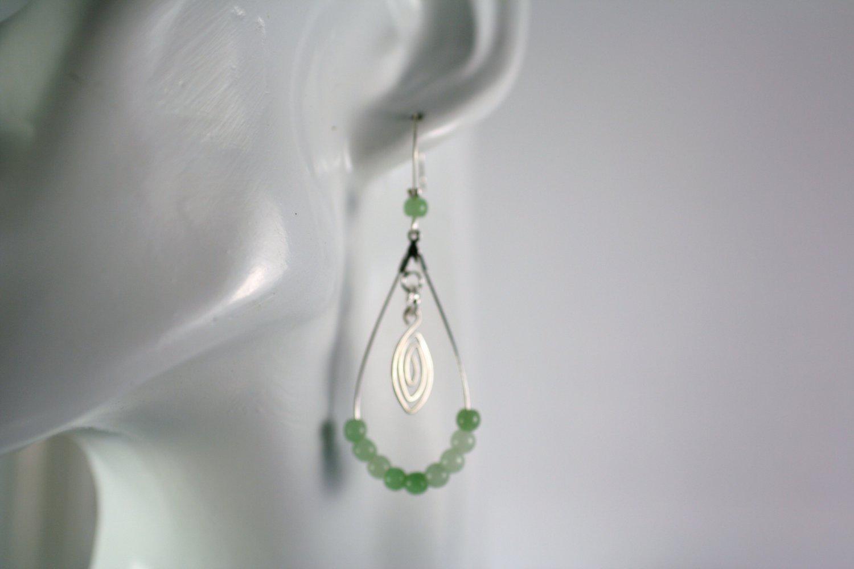 Silver Teardrop Shape Light Green Jade Beaded  Earrings     Handcrafted Jewelry