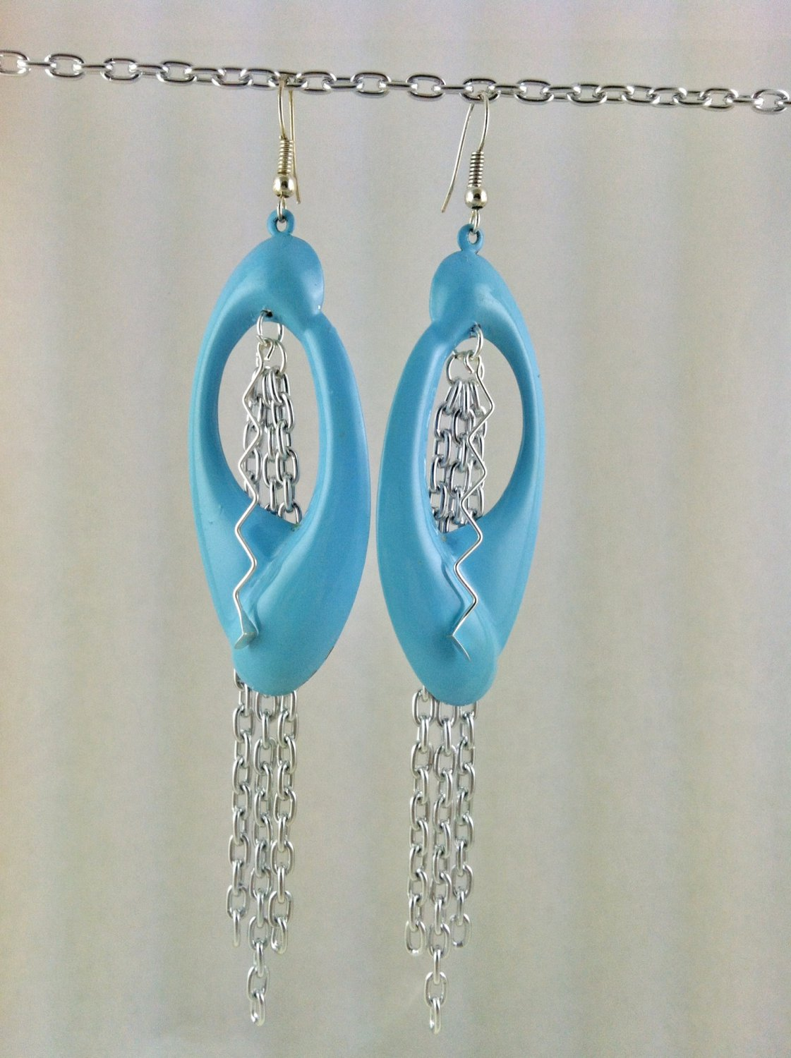 Large Baby Blue and Silver Chain Tassel Earrings Hand Crafted