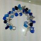 Blue Fringe Christian Charm Lampwork  Bracelet Hand Crafted