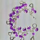 Purple with Silver Hearts Charms Crackled Glass Fringe Bracelet