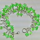 Green And Silver  Crackled Glass Beads Charm Bracelet