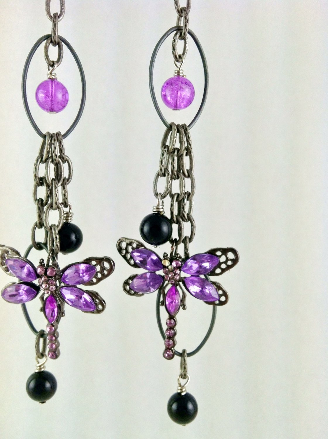 Dragonfly Earrings Dark Silver with Purple and Black