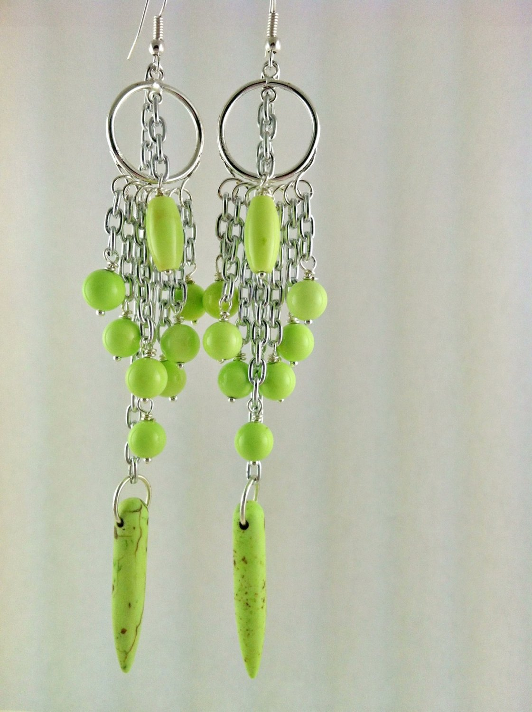 Long Silver and Green Howlite Chandelier Earrings