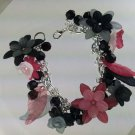 Black and Gray Goth Style Flower Fringe Bracelet