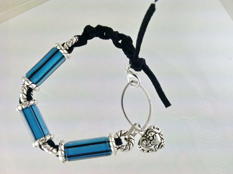 Blue Furnace Glass Leather Heart Charm Bracelet