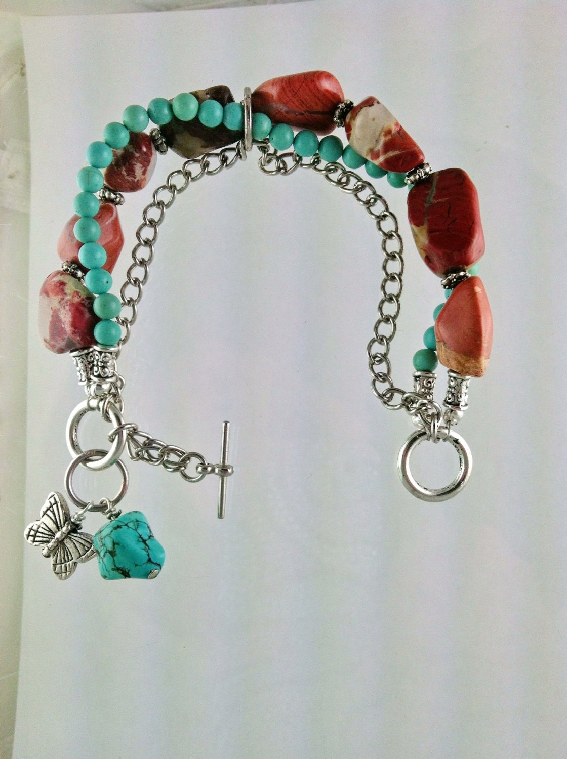 Turquoise and Brown Agate Nugget Chunky Triple Strand Bracelet Hand Crafted