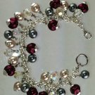 Burgandy, Cream, and Dark Gray Glass Pearls Bracelet Hand Crafted