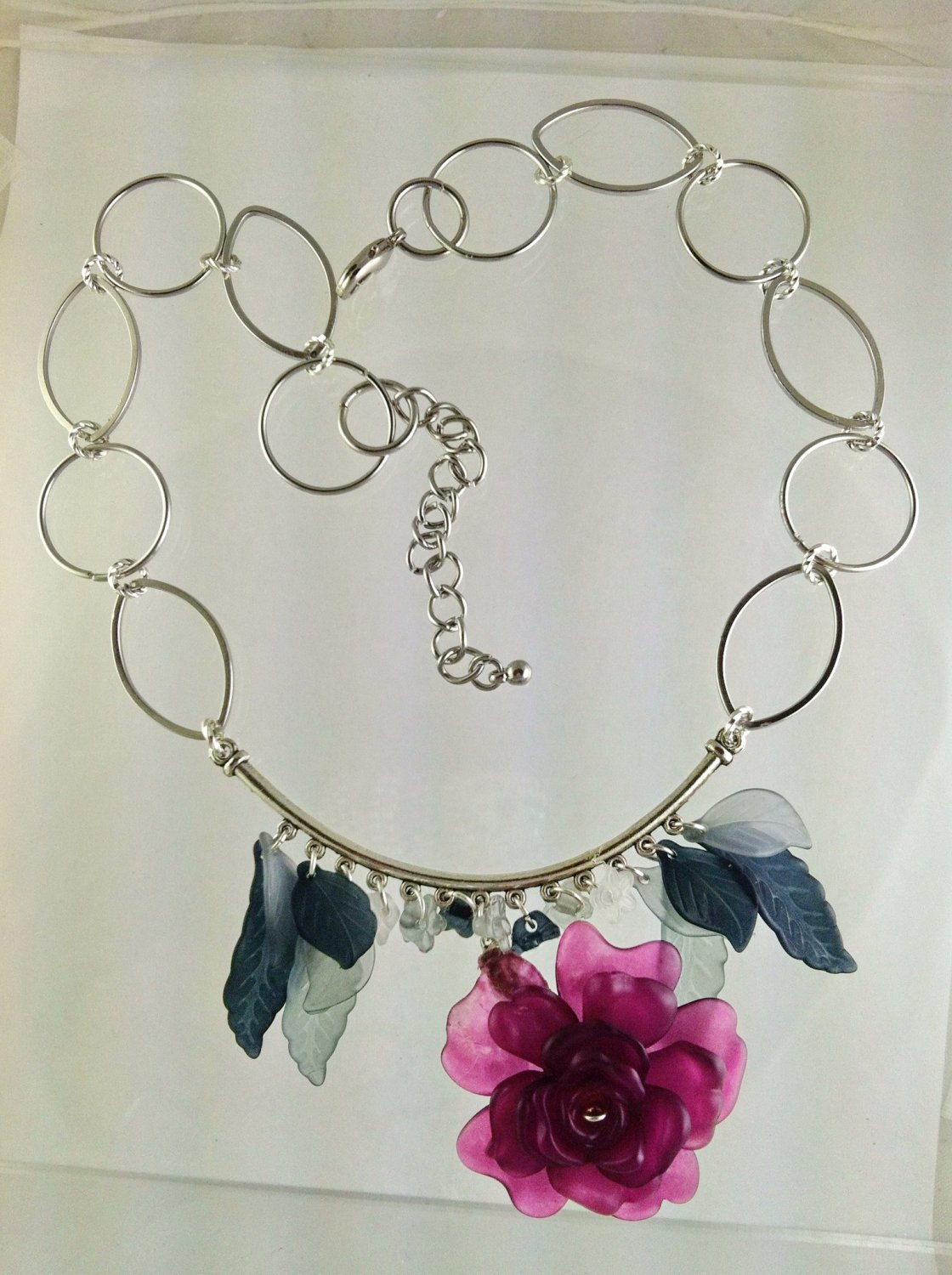 Goth Victorion Style Flower Pendant Necklace and Earrings