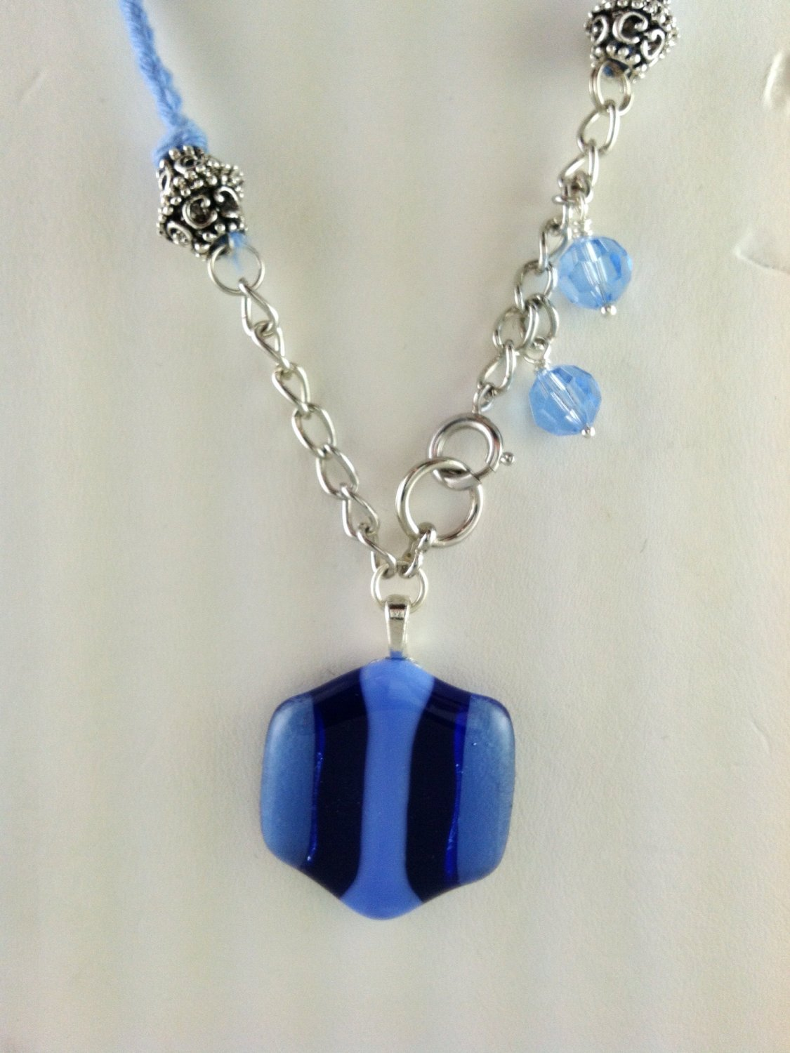 Fused Art Glass Cobalt Blue, Aqua Blue And Light Blue Pendant Necklace Hand Crafted