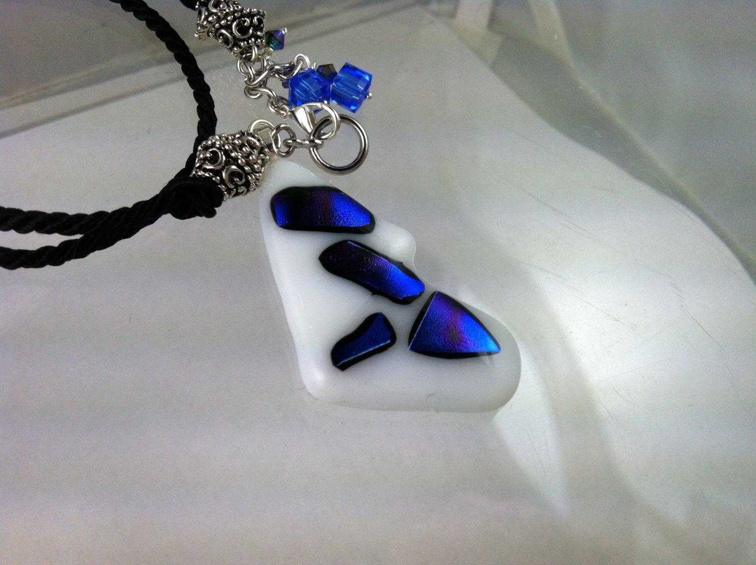 Fused Art Glass Blue Dichroic on White Swarovski Crystals Necklace Hand Crafted