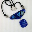 Blue Dichroic Bold Fused Art Glass Abstract Necklace  Hand Crafted Jewelry