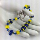 Navy Blue & Yellow Moretti Lampwork with Yellow Vintage Square Glass Beads, Toggle Bracelet
