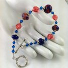 Pink & Blue Moretti Lampwork with Swarovski Crystals Toggle Bracelet