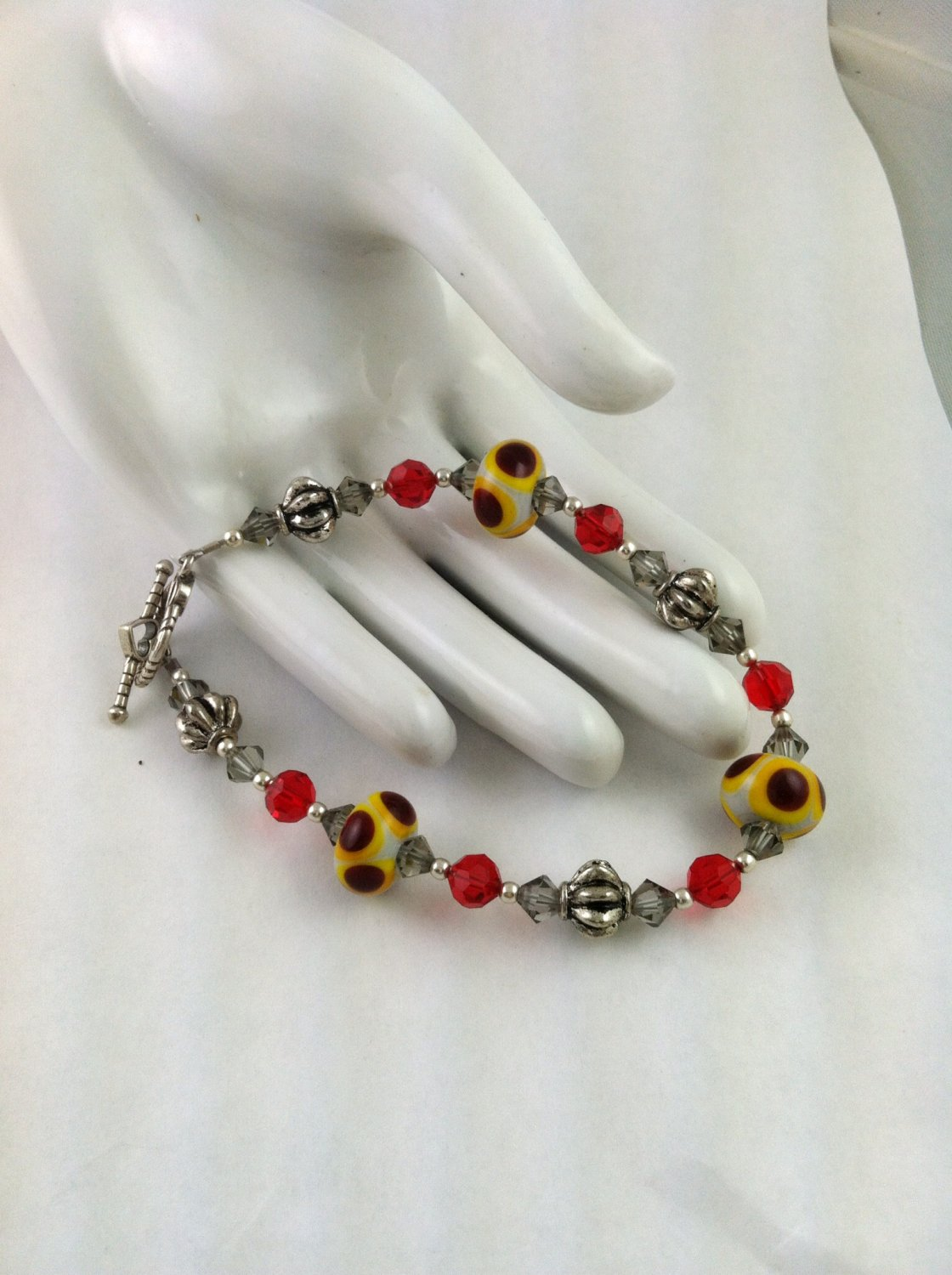 Red & Yellow Moretti Lampwork Siam Red Swarovski Crystal Bracelet   Artisan Jewelry