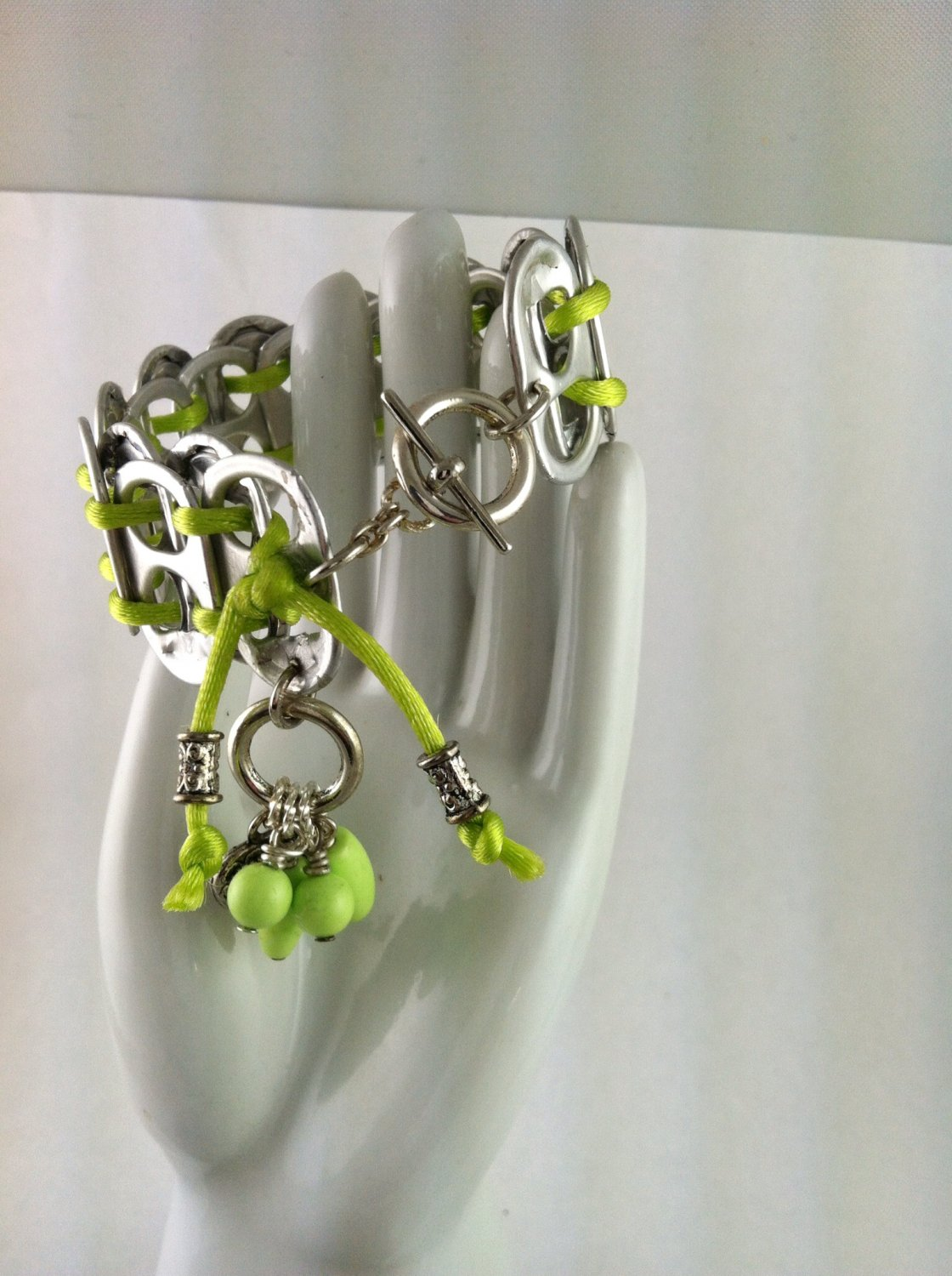 Lime Green Howlite Soda Tab Heart Charm Toggle Bracelet  Hand Crafted Jewelry