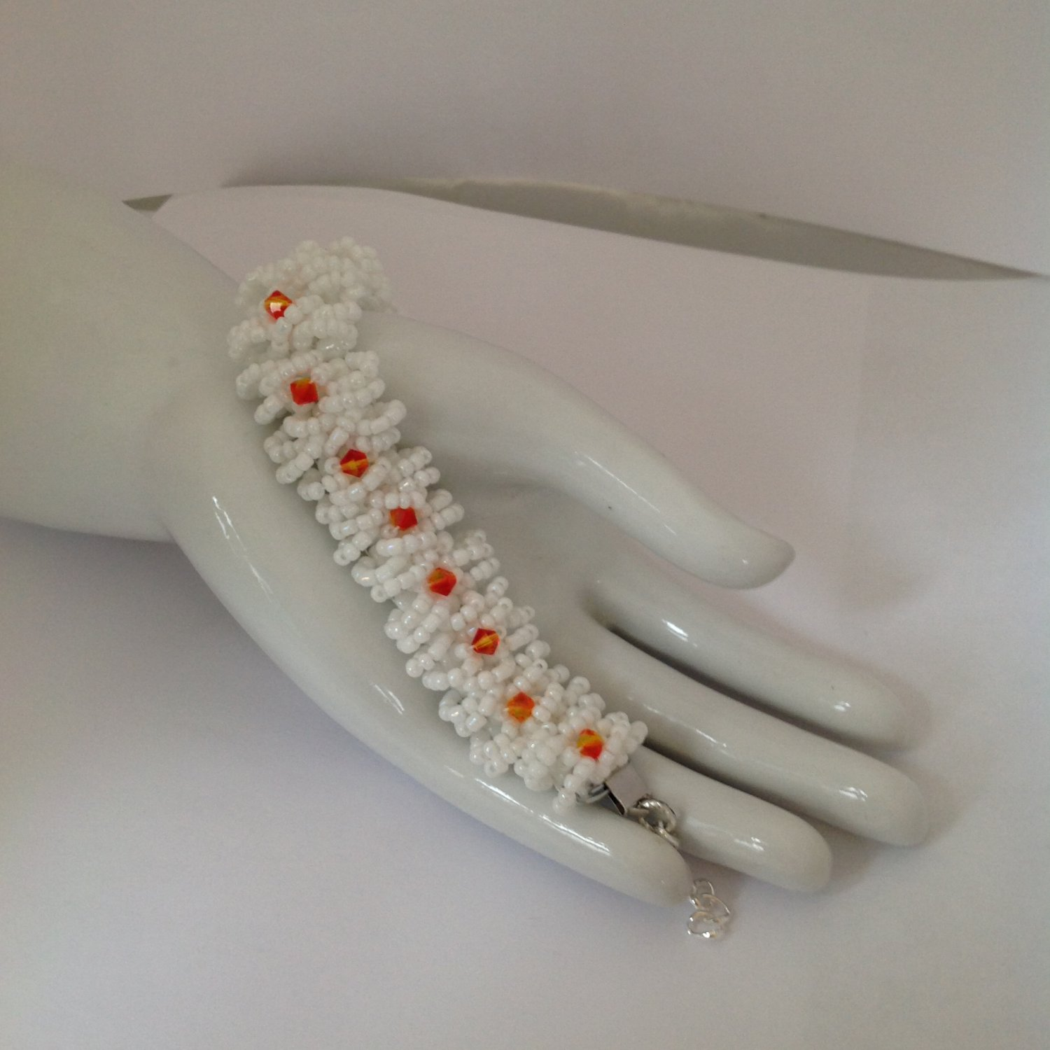 Fire Opal Swarovski Crystals White Beaded Bracelet 7 to 8 in Long