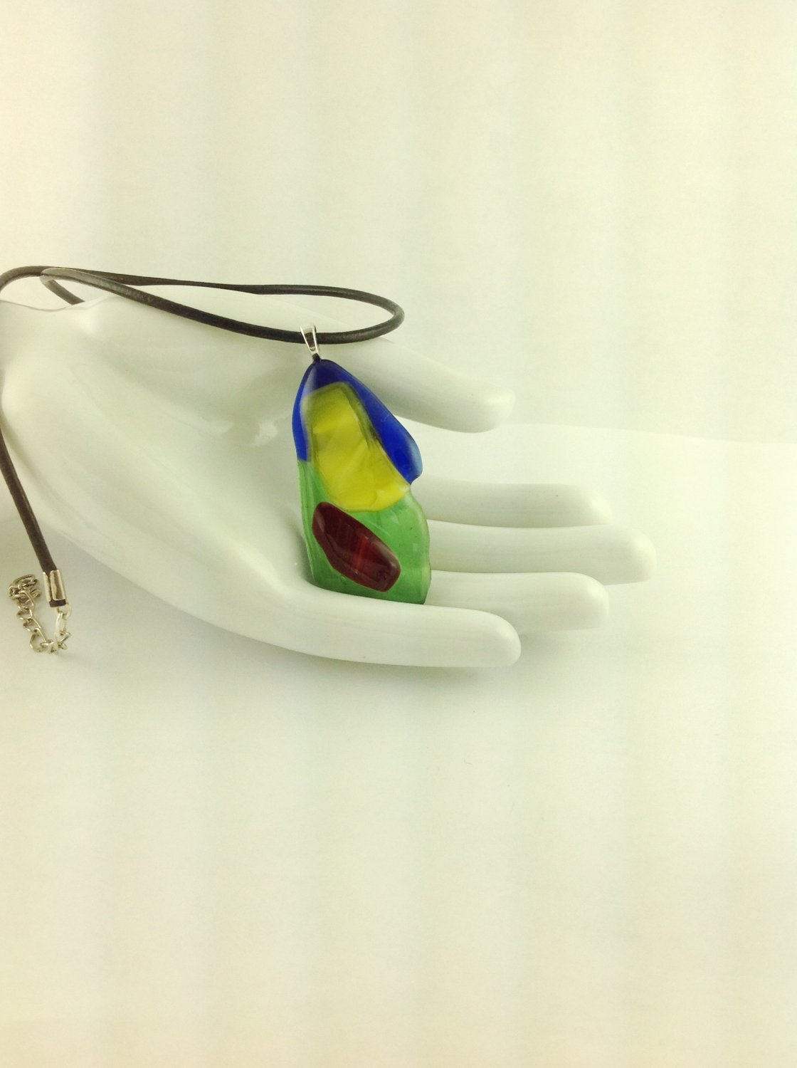 Rainbow Fused Glass Abstract Art Pendant on A  Leather Cord Necklace      Hand Crafted Jewelry