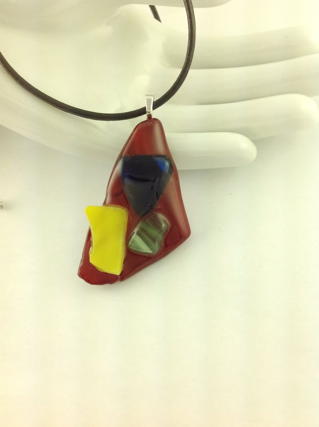 Fused Glass Multi Colored Abstract Art Pendant on A  Leather Cord Necklace      Hand Crafted Jewelry
