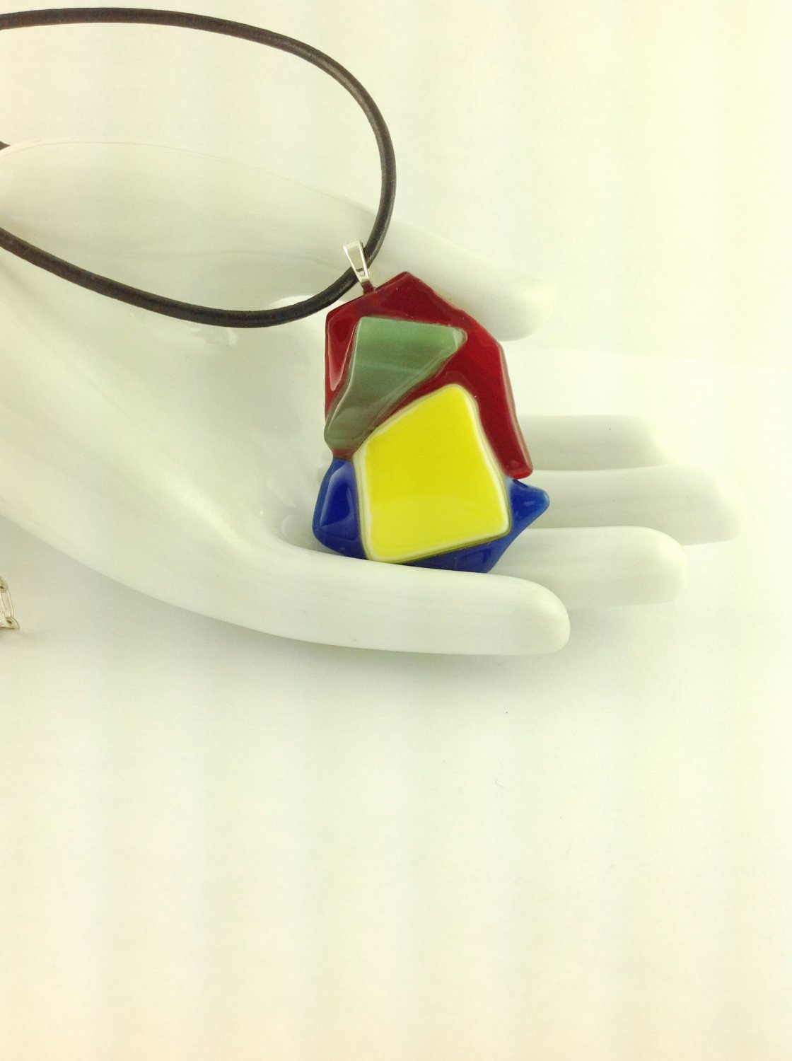 Fused Glass Rainbow Abstract Art Pendant on A  Leather Cord Necklace      Hand Crafted Jewelry