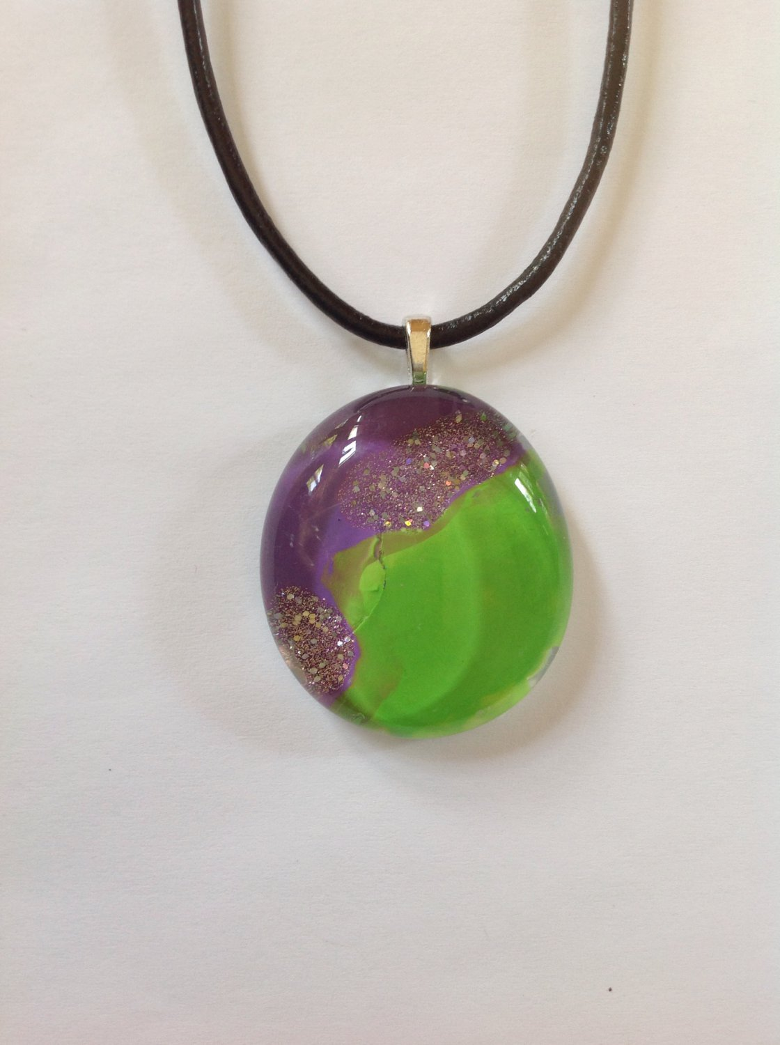 Purple and Green Hand Painted Glass Cabochon Pendant Necklace Choker