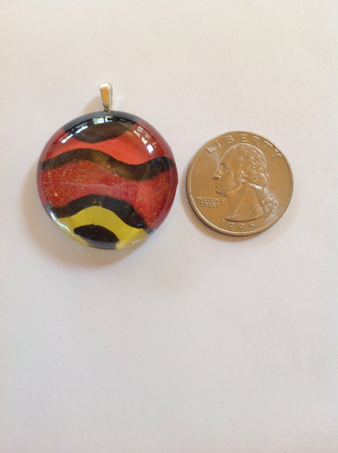 Hand Painted Orange, Yellow Glass Cabochon  Pendant Necklace  Choker