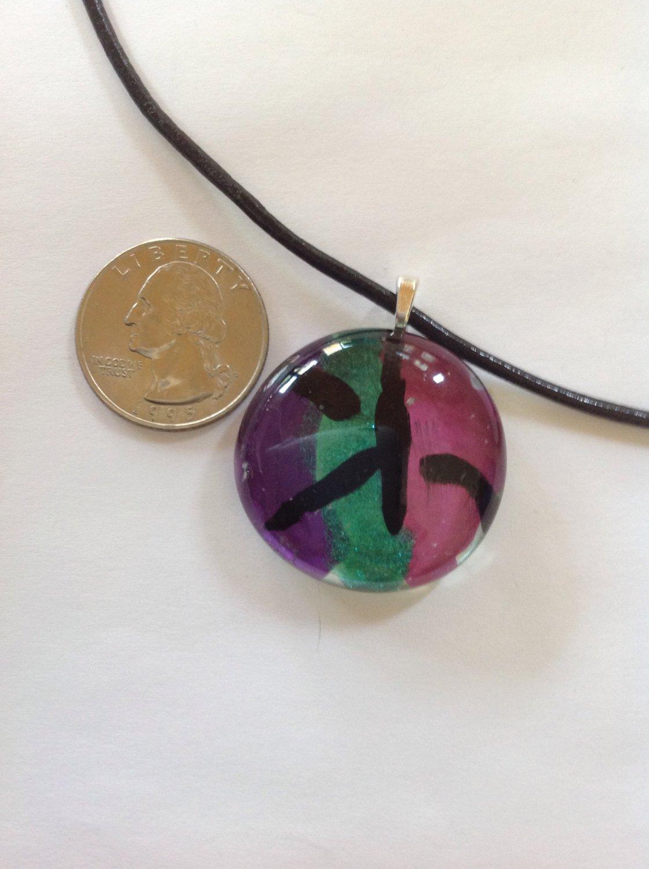 Purple, Green, Pink Metallic Glass Cabochon Pendant  Necklace  Choker    Hand Painted