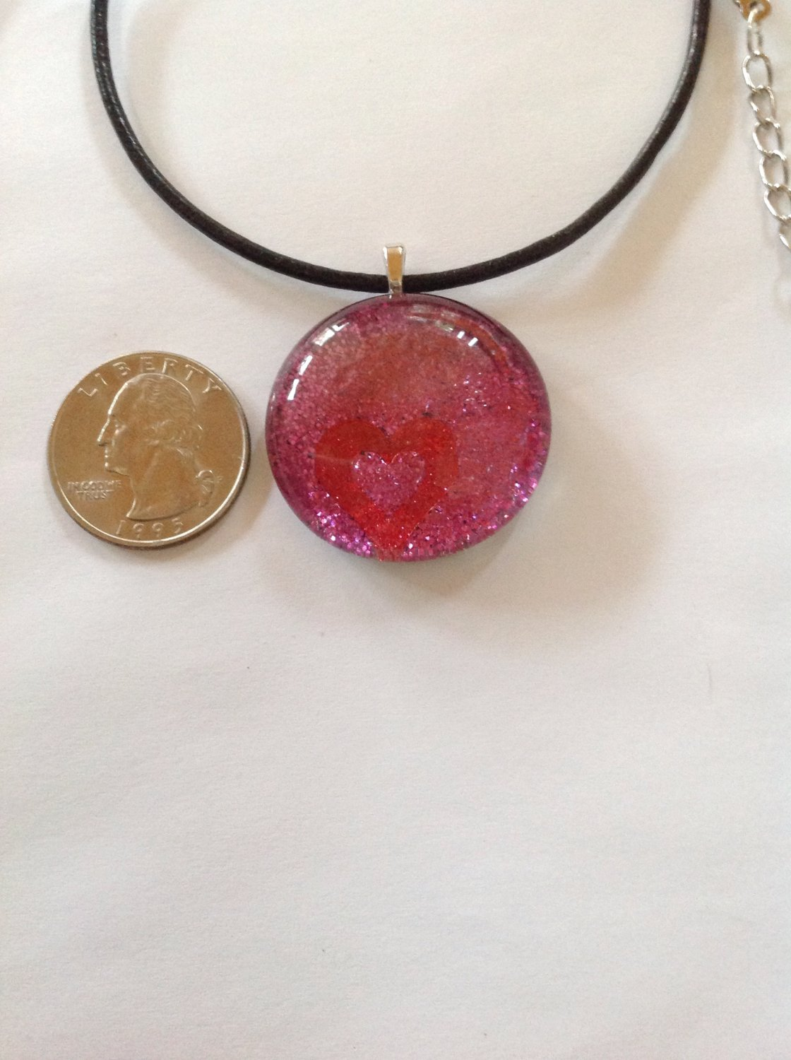 Red Heart Pink Glitter Hand Painted Glass Cabochon Pendant Necklace      Hand Crafted Jewelry