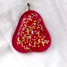 Fused Glass Neon Pink Cabochon Hand Painted Pendant Necklace Choker