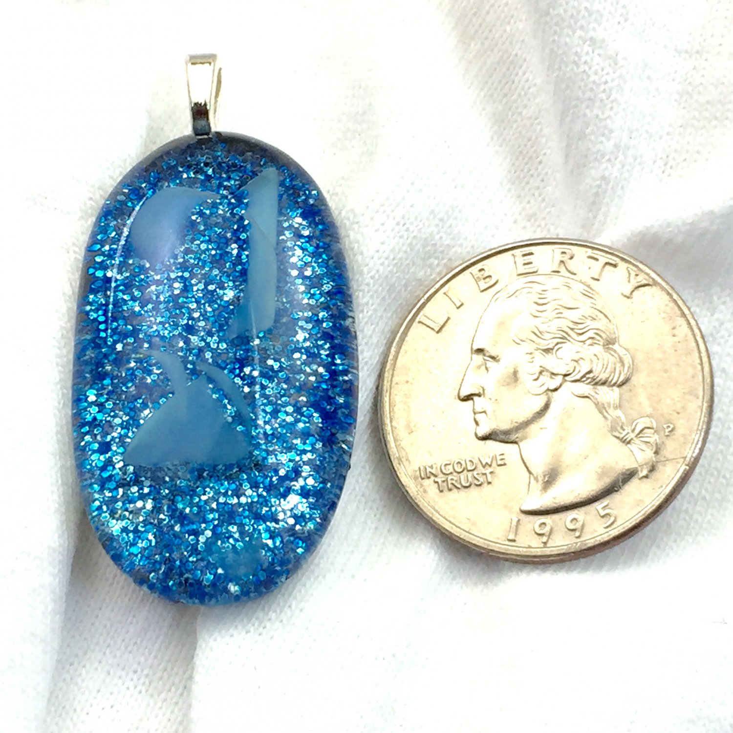 Fused Glass Blue Glitter Hand Painted Cabochon Pendant Necklace      Hand Crafted Jewelry