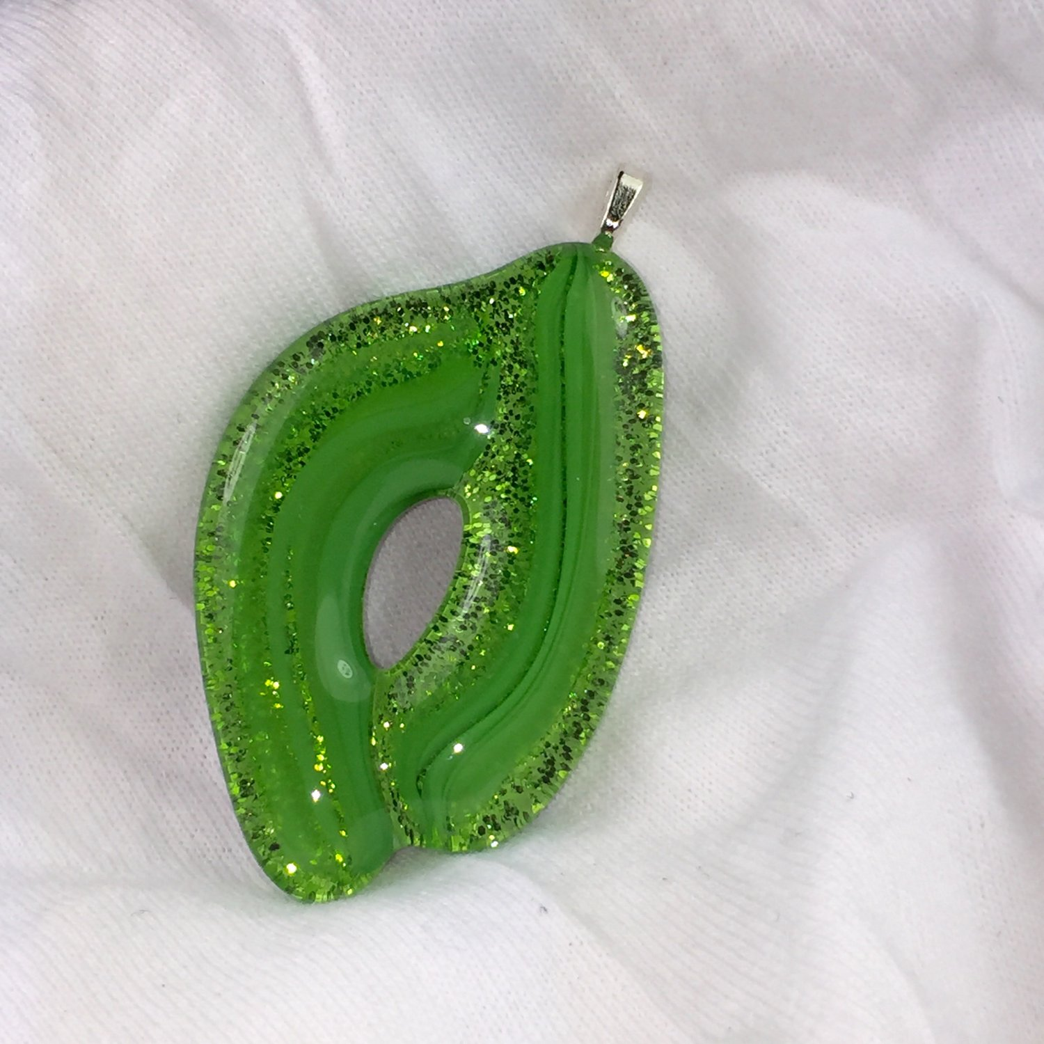 Fused Glass Green Glitter Sparkle Cabochon Pendant Choker Necklace  Hand Crafted Jewelry