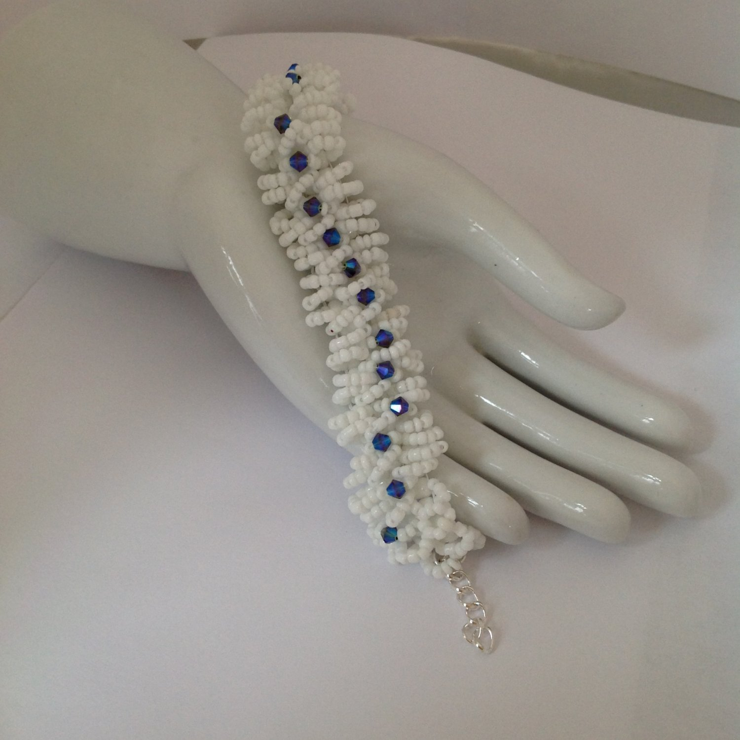 Blue Purple A/B Swarovski Crystals White Beaded Bracelet 7 to 8 in Long