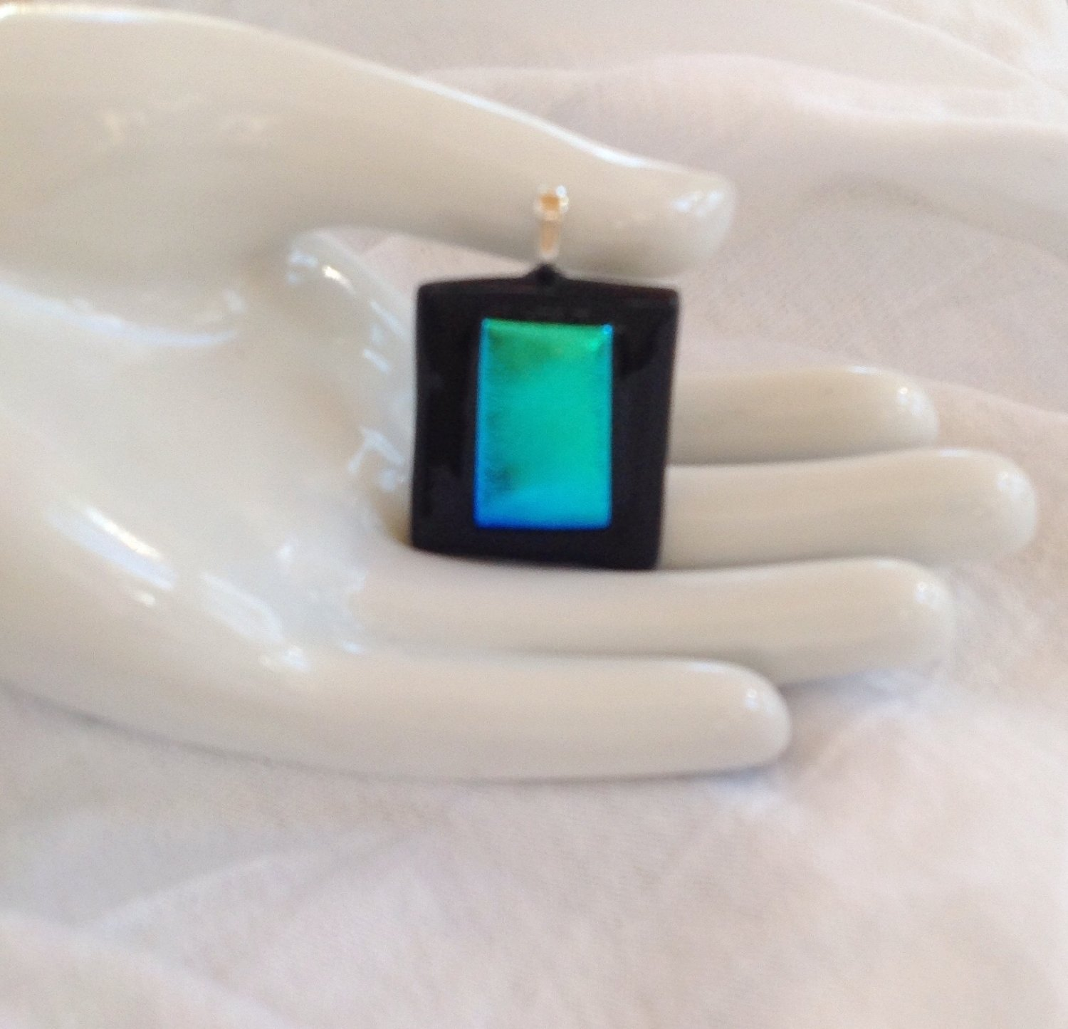 Dichroic Fused Glass Blue and Green Pendant Leather Cord Necklace      Hand Crafted Jewelry