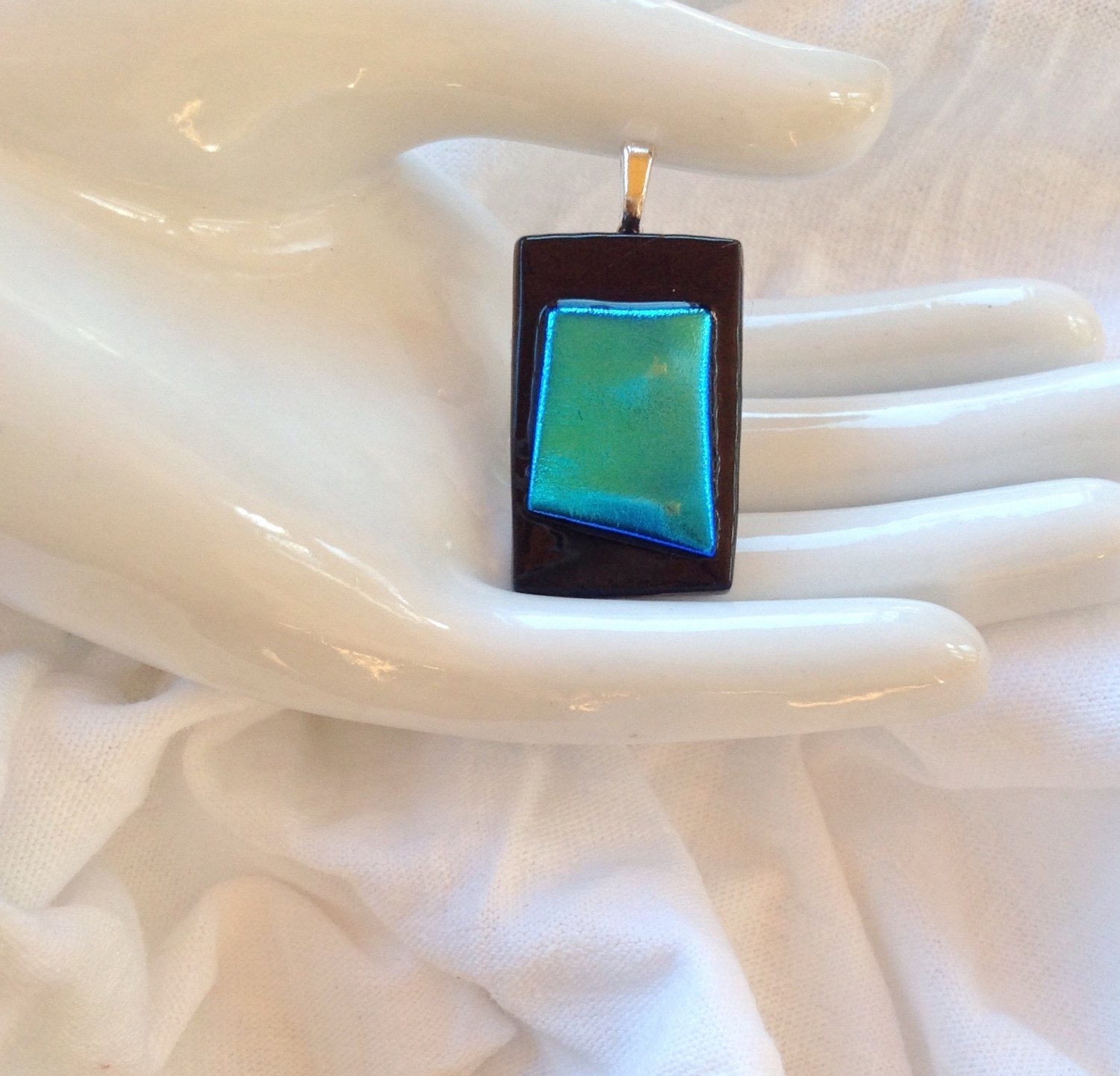 Dichroic Fused Glass Green and Blue Pendant with Leather Cord Necklace      Hand Crafted Jewelry