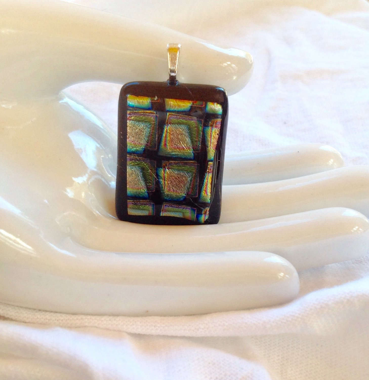 Fused Glass Dichroic Black Silver and Green  Pendant Leather Cord Necklace      Hand Crafted Jewelry