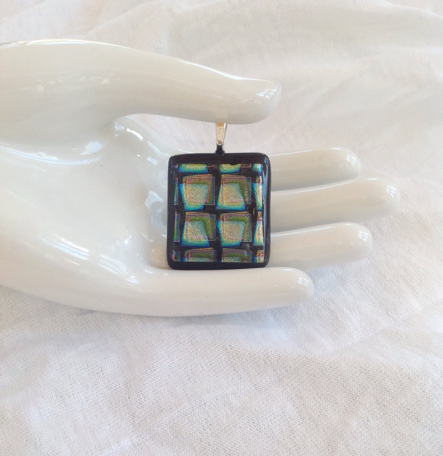 Dichroic Fused Glass Silver Green and Blue Pendant Leather Cord Necklace      Hand Crafted Jewelry