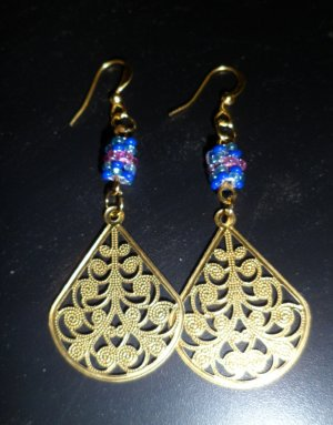Fancy Golden Fan Earrings