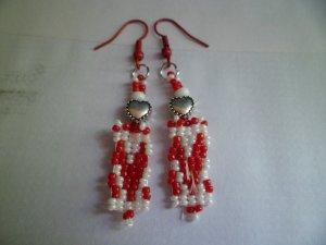Red & White Earrings