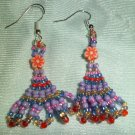 Purple with Oragne Flower Earrings