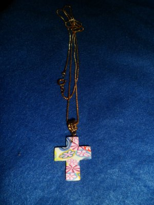 Pink Cross on Gold Necklace