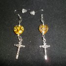 Cross with Yellow Glass Heart Earrings