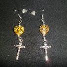 Cross with Yellow Glass Heart Earrings