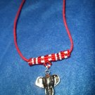 Elephant on Red & White Bail Necklace