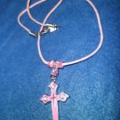 Pink Cross on Necklace