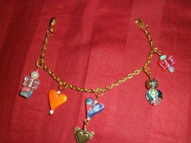 Orange Heart and Mixture Bracelet