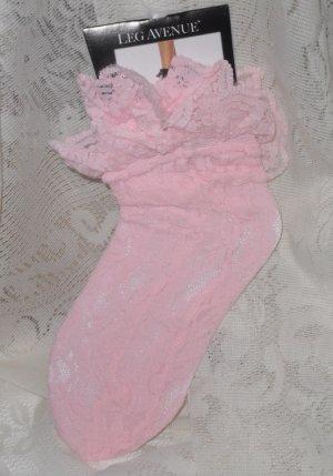 Sheer Lace Anklet Socks Pink Leg Avenue