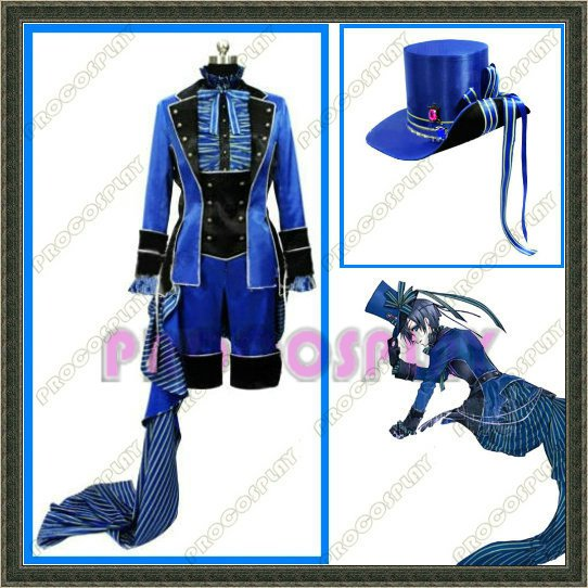 Kuroshitsuji Black Butler Ciel Cosplay Costume and hat