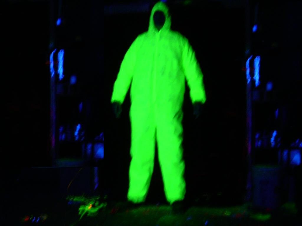 Halloween Glow Suit Costume Blacklight Glowing Ghost Jumpsuit Green