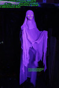Halloween Hanging Ghost Decoration Prop Blacklight Floating Flying Purple Crank